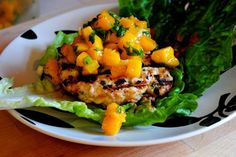 Thai Chicken Burgers with Mango Salsa #recipe