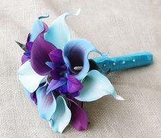 Silk Flower Wedding Bouquet Purple Blue Calla Lilies by Wedideas