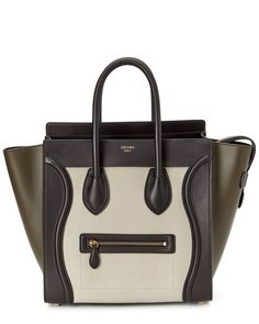 """CELINE """"Mini Luggage"""" Tri-Color Nubuck & Leather Tote is on Rue. Shop it now."""