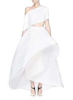 ROSIE ASSOULIN - Made-to-Order<br/><br/>'Charlie' one shoulder silk faille flare gown | White Evening Dresses | Womenswear | Lane Crawford - Shop Designer Brands Online