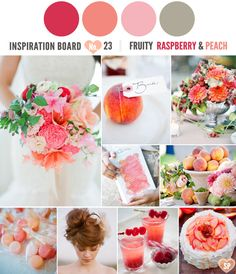 Raspberry, peach and pink make for a pretty colour palette.    Fruit Wedding Ideas | Raspberry and Peach