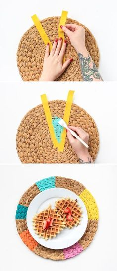 DIY Pinwheel Placemats - The Crafted Life : Jazz up neutral placemats with a few shades of multi-purpose craft paint. Rope Crafts, Diy And Crafts, Diy Projects To Try, Craft Projects, Diy Deco Rangement, Diy Pinwheel, Diy Y Manualidades, Creation Deco, String Art