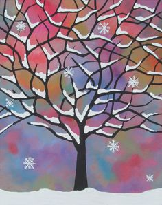 """Original Acrylic Painting - Tree, Snow, Snowflakes, Winter Storm, Christmas. 11"""" x 14"""" inches on stretched canvas on Etsy, $50.00"""