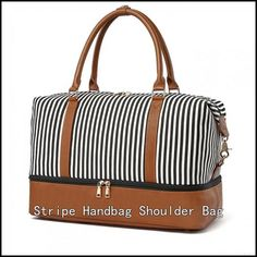 Striped Canvas, Travel Tote, My Bags, Leather Fashion, Fashion Handbags, Luggage Bags, Bag Accessories, Diaper Bag, Shoulder Bags