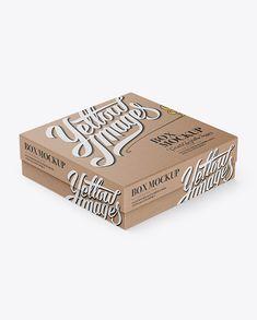 Kraft Paper Jewelry Box Mockup - Halfside View (High-Angle Shot). Preview