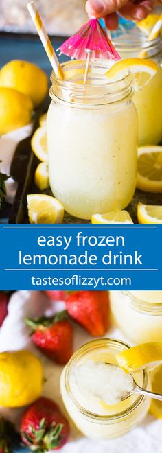 Cool down with this easy frozen lemonade drink at your next picnic. Uses fresh lemon juice and is easily sweetened to your tastes. Throw in some strawberries for a strawberry lemonade flavor!