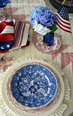 Patriotic table celebrating the Red, White Blue with Crown Ducal Bristol Pink, Johnson Brothers Devon Cottage Bebe'! Great Fourth Of July Tablescape! Fourth Of July Decor, 4th Of July Celebration, 4th Of July Decorations, 4th Of July Party, July 4th, Tabletop, Devon Cottages, Fabulous Four, Decoration Table