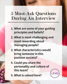 #Interview Prep >> 5 Must-Ask Job Interview Questions // #levo #job #interview #questions