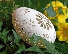 Eggshell of Polish goose - handmade sculpted #21 - transparent easter carved egg ornament decoration unique gift pysanka ażurowa pisanka by CEMBOLA on Etsy