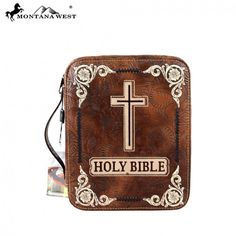 Brown Floral Tooled Holy Bible & Cross Western Bible Cover