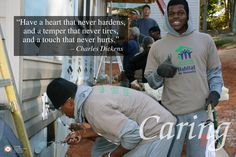 Caring was the character trait for December 2012. This poster features Hargrave Postgraduate cadets, most of them football players, working on a Habitat for Humanity Blitz Build in Altavista, Virginia. This is the second of two posters on Caring. #hargrave #military school #character development #caring