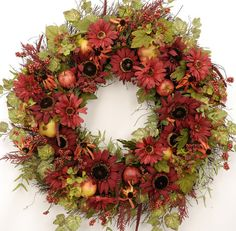 ~ Autumn Flame ~ Stunning Fall Sunflower Wreath ~ Willowgale Designs (I love this arrangement but would like to see more of the golden sunflowers incorporated)