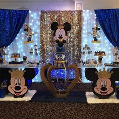 Festa Mickey Baby, Mickey Mouse Birthday Theme, Mickey 1st Birthdays, Fiesta Mickey Mouse, Prince Birthday Party, Mickey Mouse Baby Shower, Baby Boy 1st Birthday Party, Mickey Party, Baby Shower Decorations For Boys