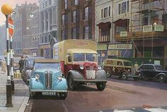 """A busy street scene with plenty of traffic and a British Railways Austin Painting by Mike Jeffries. Car Posters, Travel Posters, Classic Trucks, Classic Cars, Austin Cars, Nostalgia, Nostalgic Art, Train Art, Commercial Vehicle"