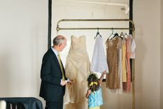 A '60s Inspired Brooklyn Wedding A Practical Wedding: Blog Ideas for the Modern Wedding, Plus Marriage -- love the dresses just on a hotel cart rather than whatever else...