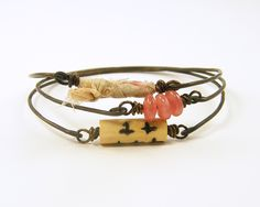 Wire Bangle Bracelets - Shabby Chic Pink Cream Brown. $34.00, via Etsy.