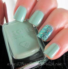 Etoile Fizzy Cucumber w/ Accent Nail Shimmer Polish Linna Nail Polish Blog, Cute Beauty, Accent Nails, Cucumber, Swatch, Hair Makeup, Hair Beauty, Random, Quotes