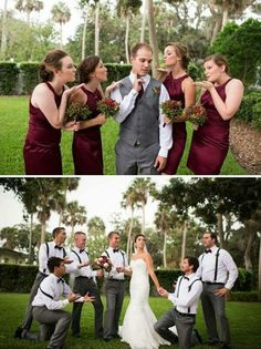 Groom with the bridesmaids  &  Bride with the Groomsmen❤