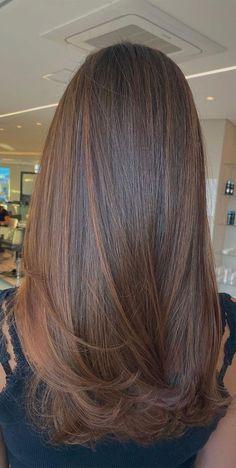 Straight Hair Highlights, Brunette Hair With Highlights, Brown Straight Hair, Dark Brunette Hair, Haircuts Straight Hair, Long Brown Hair, Long Layered Hair, Brown Highlighted Hair, Brunette Hair Colors