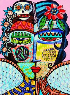 Tribal Rose Day Of The Dead Angel Painting by Sandra Silberzweig Tribal Rose, Tribal Art, Pintura Hippie, Sandra Silberzweig, Cuadros Diy, Abstract Face Art, Picasso Art, Hippie Art, Diy Canvas Art