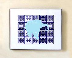 Greek Key Elephant Print Modern Art Prints  Modern by HappyBrat, $14.00