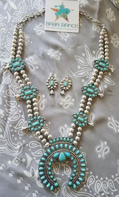 COWGIRL Bling turquoise SQUASH BLOSSOM Western SILVER TONE Gypsy NECKLACE set | Jewelry & Watches, Fashion Jewelry, Jewelry Sets | eBay!