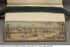 (1/2) A double fore-edge painting, with the scene of Heliopolis visible when the book is fanned open in one direction, and the Bridge of the Euripus in the other. Epictetus, his morals, with Simplicius, his comment, 1704.  WKR 9.2.1  Houghton Library, Harvard University. See http://pinterest.com/pin/68257750576646482/