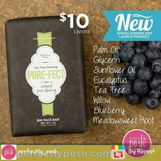 Pore-fectly Posh! A facial soap to keep face and pores calm, clean, and clear. Meadowsweet root, tea tree, eucalyptus and blueberry deep clean pores and refresh skin while gently washing and nourishing Order yours today on my site: www.poshyourtroublesaway.com