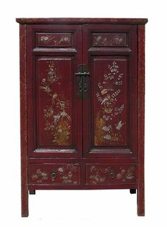 Vintage Chinese Flower Bird Graphic Accent Armoire vs634S