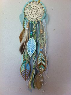 Aqua+Dream+Little+Dreamcatcher+with+watercolor+by+CosmicAmerican,