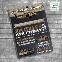 Birthday party invitation kids army chalkboard by myooakboutique