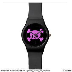Women's Pink Skull & Crossbones Watch #watches #womenswatches #skull #pink #pirate #giftideas #giftsforher