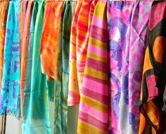 Aquarela em seda pura nas cores intensas do verão brasileiro #lianemestrinho