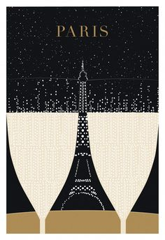 Paris, Eiffel Tower - Poster Print, Original Illustration, Art Print, Black and Gold Paris Illustration, Champagne. $24,00, via Etsy.
