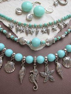 This necklace I created in casual boho style from seahorse and starfish charms and also seashells charms accompanied by aquamarine acrylic bead in color of ocean. This gives to the necklace a real marine style and coastal spirit. Do you live near the sea or spend your holidays on the coast? Or just dreams about seashore? In any case, this necklace will gently waft you to the coastal mood. Or maybe you are a Mermaid deep inside ;) Length of the upper level 44 сm (17), lower - 58 cm (22)…