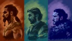 Just some quick painting practice with GoT. Now suffering withdrawal from season end. Drogo, Daario & Jon belong to George RR Martin and HBO