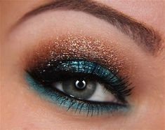 Blue/Copper sparkly eye makeup