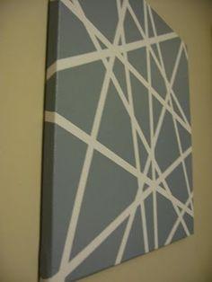 DIY art - tape on canvas stripes