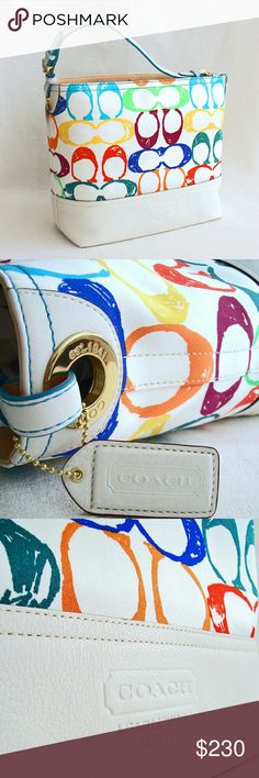 "NWT COACH Scribble Shoulder Tote Scribble Signature printed canvas and white leather Clip closure New with tag and in an excellent condition Approx. 13"" x 11"" x 5.5"", 19"" adjustable strap I am selling part of my private collection. All of my listings are guaranteed authentic. Coach Bags Totes"
