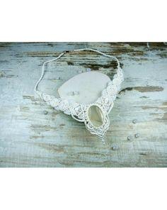 macrame necklace, wedding macrame necklace, handmade necklace with gemstone, agat pasiasty, gemstone, micromacrame.