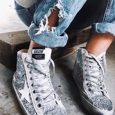 Add a dose of glitter to your ensemble with Golden Goose sneakers. Chanel, Shoe Boots, Shoes Sandals, Zapatillas Casual, Baskets, Shoe Closet, Pumps, Heels, Shoe Game