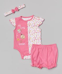 Petite Bears Pink Floral 'My Little Garden' Bodysuit Set - Infant by Petite Bears #zulily #zulilyfinds