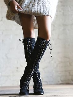 Jeffery Campbell for Free People Jesse Lace Up Over The Knee Boot at Free People Clothing Boutique