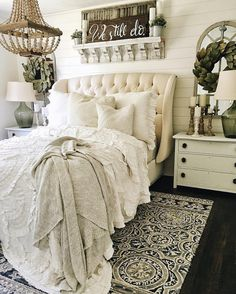 So pretty! Love the headboard.