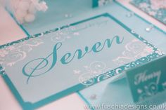 Gorgeous printed and personalised wedding stationery. Table names or numbers from the Typography Heart collection. www.fuschiadesigns.co.uk