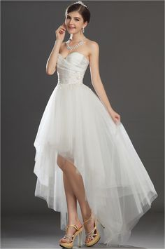 Marvellous high low wedding dress with pleated accent