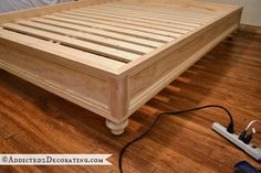 How to make a raised platform bed frame Diy Bed Frame, Making A Bed Frame, Box Spring Bed Frame, Bed Frame Parts, Platform Daybed, King Platform Bed, Raised Platform Bed, Platform Bed Frame Full, Diy Daybed