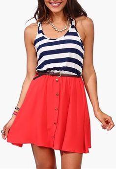 Coral Nautical Stripe Tank Dress ♡