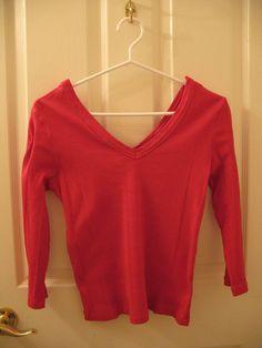 Women s Bright Red Rib Knit Top
