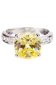 Cushion Canary Yellow CZ & Pave Band Ring $41.